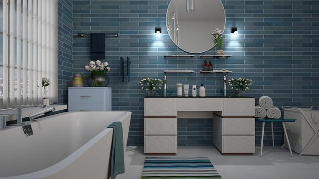 Badkamer in donker- en lichtblauw
