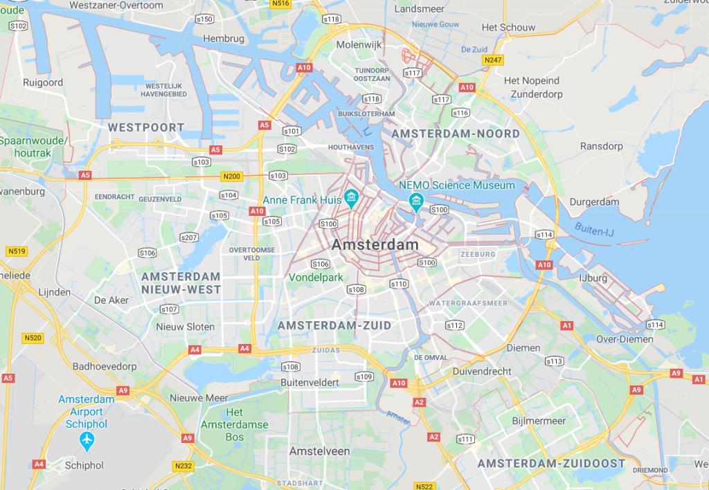Kaart van Amsterdam - wijken