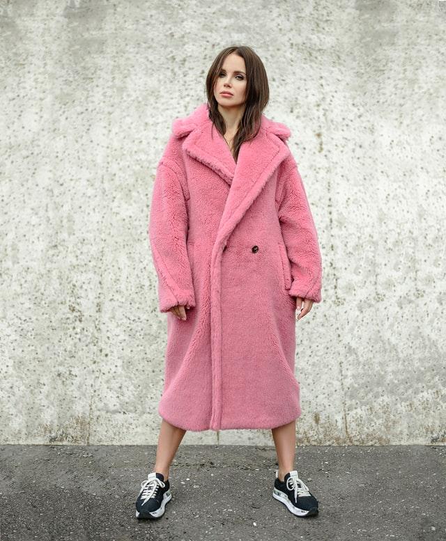 Roze teddy coat