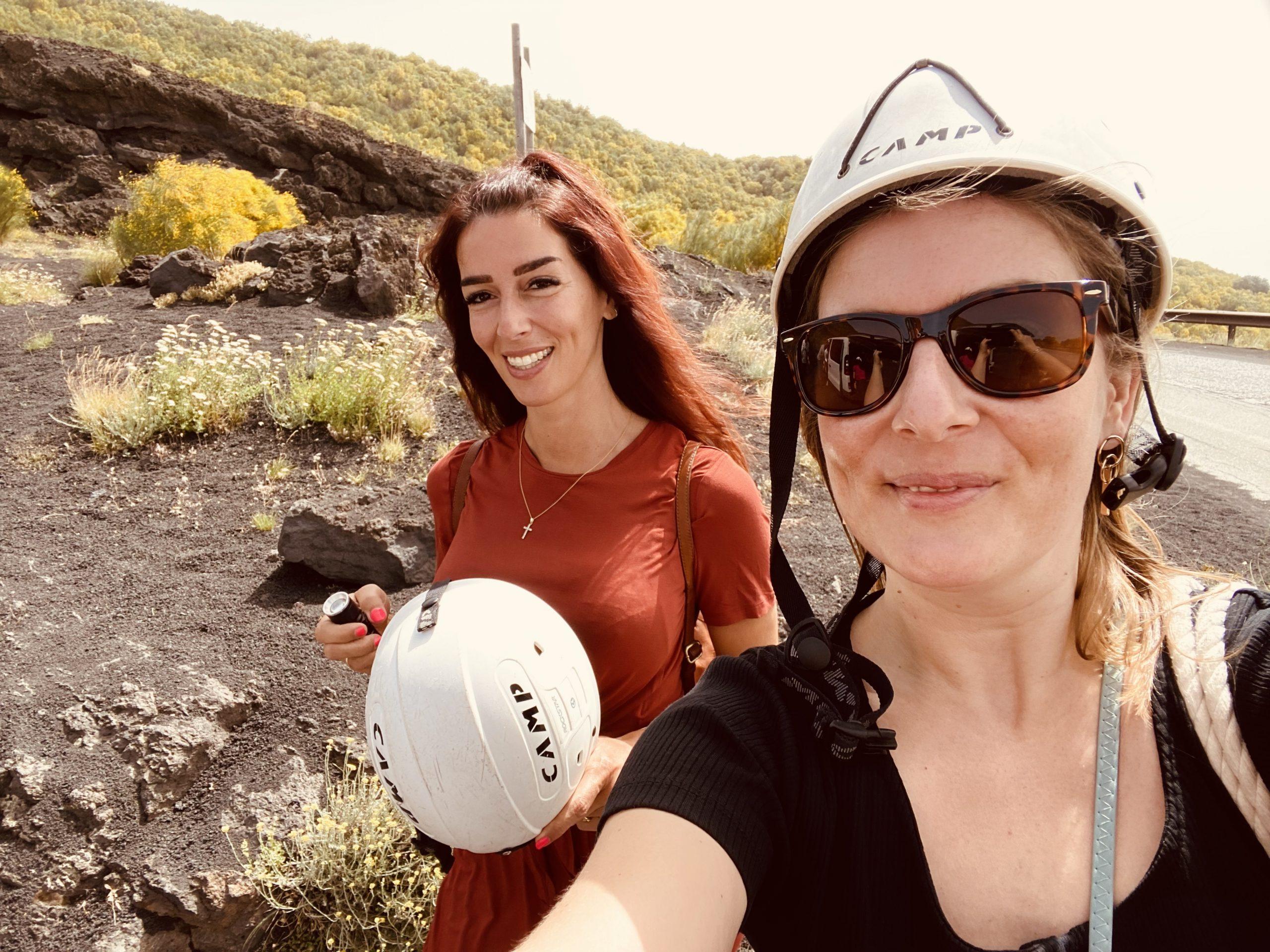 Mariangela en Marlouk op de Etna op Sicilië
