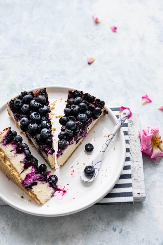 Gezonde sweets - bosbessen taart